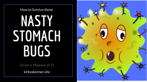 Now is the time of year when all the stomach bugs are floating around. When you have a large family like we have it can get very stressful. So how do we handle the stomach bug or nasty bug as my little ones call it?