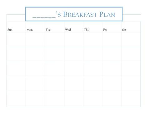 Blank Breakfast Planner