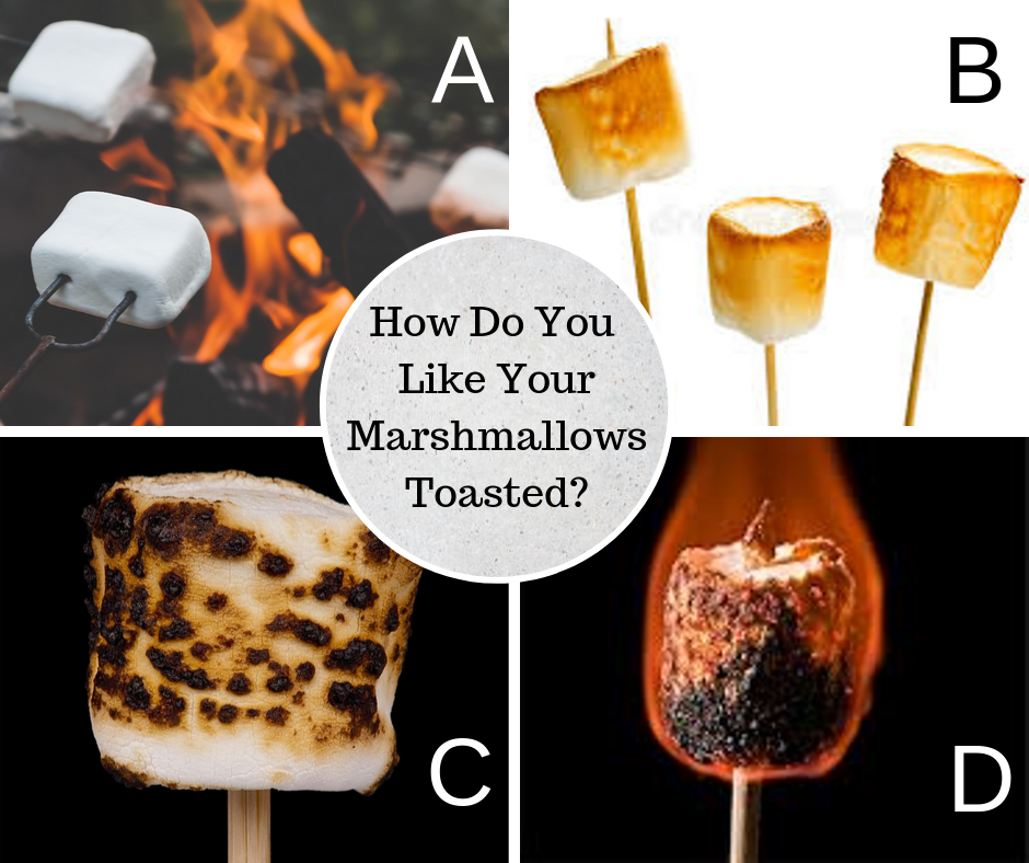 How do you like your marshmallows? Personally, I like mine burnt and smushed between a couple of graham crackers with some chocolate... best eaten on a cool night beside a warm campfire.